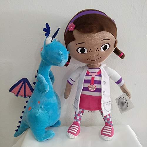 Peluche 32 Cm 12,6 `` Giocattoli di Peluche Originali Doc McStuffins, Ragazza Dottie E Bambola per Bambini Morbida Drago Blu Carino per Regalo di Compleanno