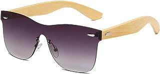 QWKLNRA - Gafas De Sol para Hombre Lente Púrpura Moda Bambú contra-UV Gafas De Sol Modernas Hombres Gafas De Conductor De Madera para Hombres/Mujeres Ciclismo Viajes Pesca Gafas De Sol Al Aire Lib