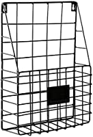 HTL 実用的な収納ラック錬鉄製の壁掛け壁掛け本棚収納ラック壁マガジンラックシンプルなリビングルーム新聞ラック,ブラック,26 * 8 * 72Cm