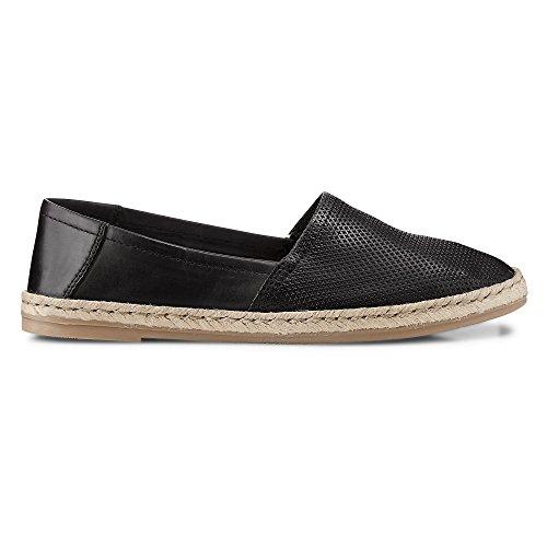 Cox Damen Trend Espadrille aus Leder, Slipper in Schwarz mit Sohle aus geflochtenem Bast Schwarz Leder 37
