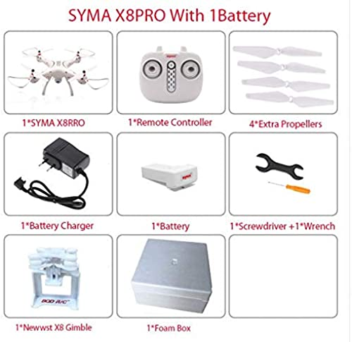 ETC KART Le Plus récent Drone RC quadrirougeor SYMA X8PRO GPS avec caméra WiFi FPV Quadrocopter Professionnel X8 Pro hélicoptère RC Peut Ajouter Une caméra 4 K (X8Pro 1 Battery)