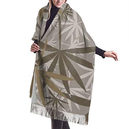 Hangdachang Emblema monocromo con hoja de marihuana. Chal y vestido de noche bufanda de cachemira para mujer de moda bufanda de invierno 27 * 77 pulgadas