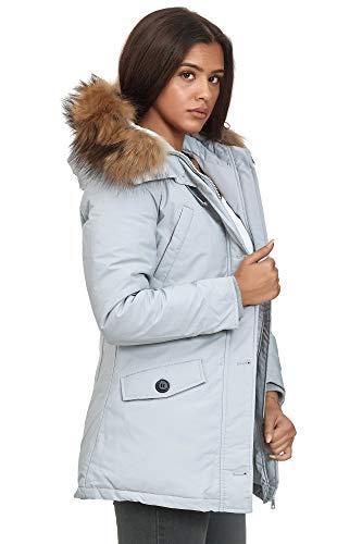 Elara Damen Winterparka Jacke Echt Fell Mantel Grau Chunkyrayan BN57 Grey-40 (L)