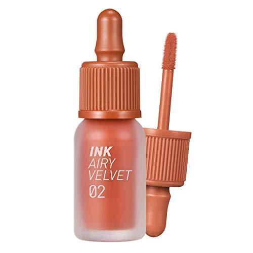 Peripera Ink Airy Velvet Lip Tint | High-Pigmentation, Lightweight, Soft, Moisturizing, Not Animal Tested | Selfie Orange Brown (#02), 0.14 fl oz