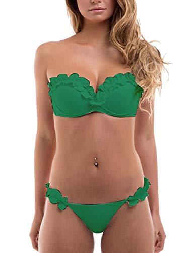 Voqeen Costume da Bagno Donna Sexy Bikini Costumi da Bagno Donna Due Pezzi Bikini Donna Push-up Bandeau Top Reggiseno Imbottito Abito da Bagno Donna Swimwear Spiaggia Swimsuit Monokini Tankini