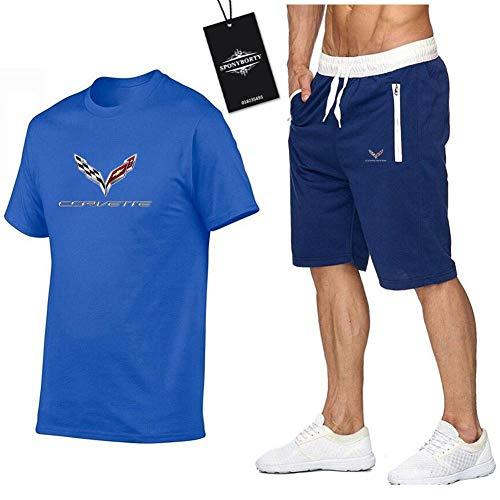 Jasmin Busse Hombres Y Mujer Camiseta Bermudas Chandal Conjunto por Cove.R_Tte Dos Piezas Corto Manga Tee Pantalones Ropa Deportiva R/Azul/XL