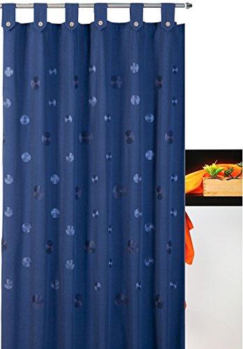 atenas home textile Cortina de baño Bordada con Trabillas Camelia 35% algodón 65% poliéster - 140x200 - Azul