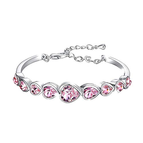Yellow Chimes Crystals from Swarovski Deep Ocean Love Hearts Bracelet for Women and Girls (Pink)