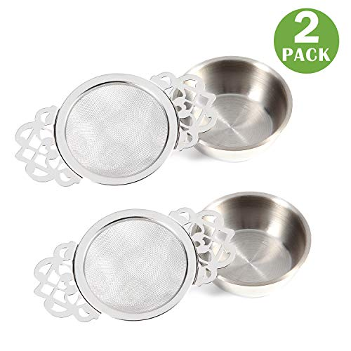 2 Pack Stainless Steel Tea Strainers with Double Winged Handles Drip Bowls Fine Mesh Strainer for Loose Leaf (Silver)