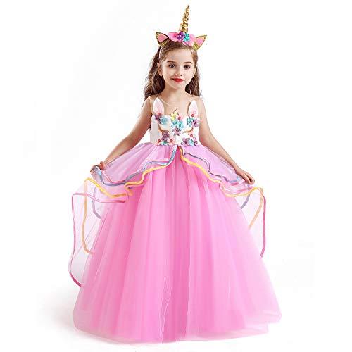 NNJXD Disfraz de Fiesta de Unicornio para Niñas Cosplay Disfraz de Halloween Tamaño (120) 5-6 Años Rosa