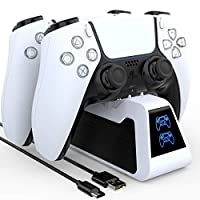 PS5 Controller Charger, Playstation 5 Controller Charging Station, Dualsence Charging Dock with LED Indicator, for Playstation 5 DualSense Controller(White) by KUNSLUCK