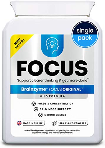 Brainzyme Focus Original: Concentration Enhancer Nootropic: Caffeine + L-Theanine, Choline, Strong B-Vitamins 3113mg 12 Actives = Brain Boost + 6 Hours Energy (Single Pack)