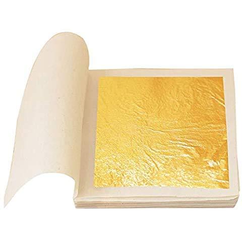 MarketKingStore - Hojas de oro de 24 quilates sobre base (70 x 70 mm, 100 unidades)