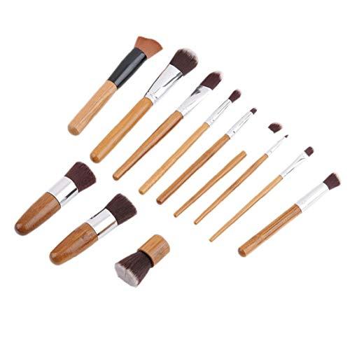 11pcs bambou poignée Fondation Blending Maquillage Pinceaux + plat Pinceau angulaire pour le maquillage beauté