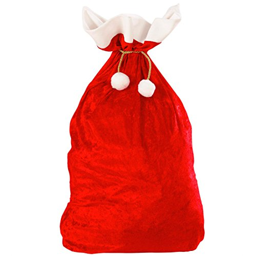 NET TOYS Sacco di Babbo Natale in Juta Rossa per Regali Doni strenne - 60 x 100 cm