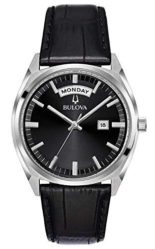Bulova orologio uomo day date cinturino pelle quadrante nero 96c128