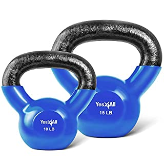 Yes4All Combo Vinyl Coated Kettlebell Weight Sets – Great for Full Body Workout and Strength Training – Vinyl Kettlebells 10 15 lbs (B078YPGTSP) | Amazon price tracker / tracking, Amazon price history charts, Amazon price watches, Amazon price drop alerts