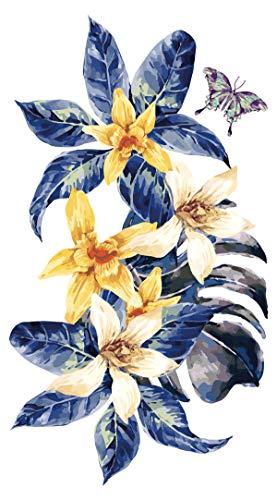 dekodino® Adesivo murale i fiori acquerello gigli giallo con foglie blu