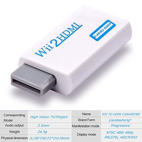 Wii-zu-HDMI-Adapter, Wii-zu-HDMI-Konverter-Anschluss mit Full HD 1080p/720p Video-Ausgang und 3,5 mm Audio – unterstützt alle Wii-Display-Modi