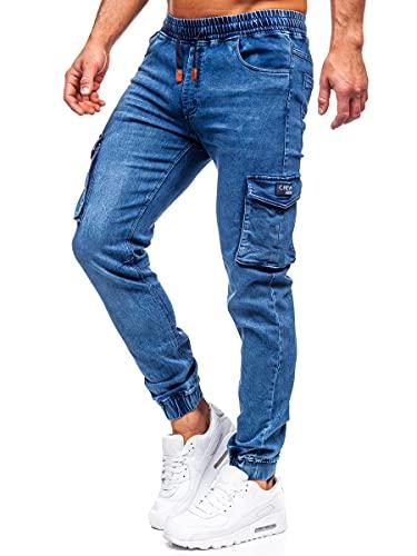 BOLF Hombre Pantalón Vaquero Jogger Denim Jeans Pantalón de Mezclilla Skinny Vaqueros Tejano Vaqueros Ajustados de Algodón Slim Fit Outdoor Estilo Urbano HY899 Azul Oscuro M [6F6]