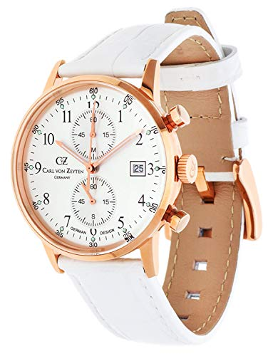 Carl von Zeyten Damen Chronograph Quarz Uhr mit Leder Armband CVZ0012RSL