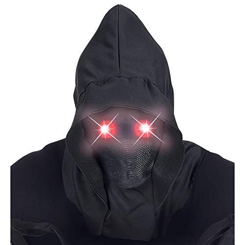 Widmann 07808 Maske Unsichtbares Gesicht mit Kapuze und leuchtenden Augen, Schwarz, Einheitsgröße