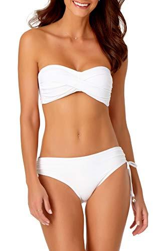 Anne Cole Live in Color White Twist Bandeau Bikini TOP, XS