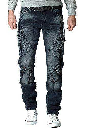 Cipo & Baxx Herren Jeans mit Schnalle cd440bans Blau W28/L30