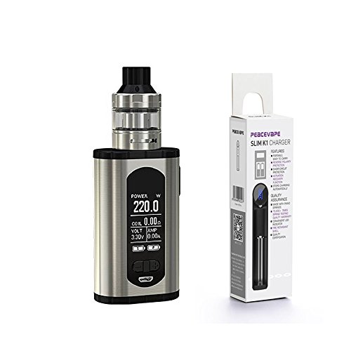 Eleaf INVOKE 220W Kit con Ello T Tank (Argento) 2018 Eleaf Innovativo Sigaretta Elettronica Senza Nicotina e Bonus USB per batteria 18650 PEACEVAPE K1 Caricabatterie