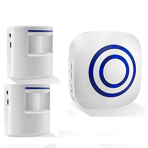 BeiLan Timbre inalámbrico con 1 receptor electrónico y 2 detectores de sensor de movimiento PIR 3 niveles de volumen con 38 melodías Alarma de seguridad para visitantes
