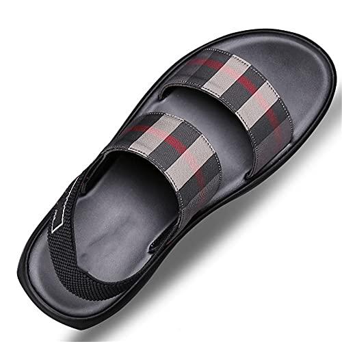 Sandalias de senderismo Sandalias para caminar de los hombres Sandalias de playa Cuero cerrado Toe Summer Shoes for Trekking Senderismo Sandalia al aire libre ( Color : Black , Size : 40 )