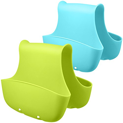 2 Pack Schwammhalter für Doppelspüle, FineGood Sattel Caddy Pinsel Seife Organizer Aufbewahrung Küche Bad Kunststoff Korb - Blau, Grün