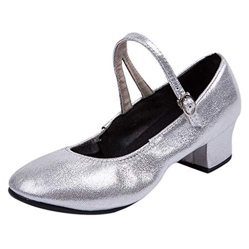 Xmiral Damen Schnalle Latin Tanzschuhe Blockabsatz Mokassins Ballsaal Tanzschuhe(41,Silber)