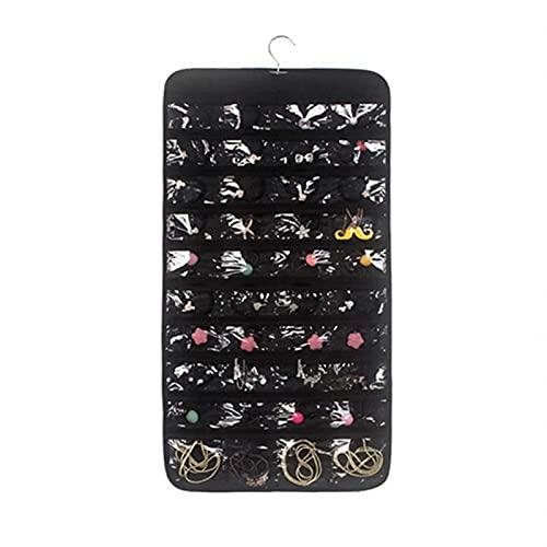 MZAW Hanging Organizer 80 Pocket Hanging Ring Storage Bag Jewelry Holder Bracelet Earring Ring Storage Bag Jewelry Storage Bag Space-Saving Clothing Storage Bag (Color : Black Double Sided)
