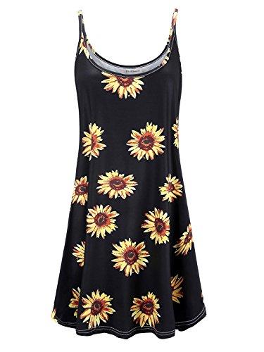 Plus Size Women's Casual Spaghetti Loose Swing Slip Dress (Black Sun Flower,4X)