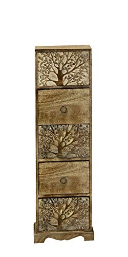 GILDE Schrank Lebensbaum aus Mangoholz mit 5 Schubladen braun gewischt Länge 13,0 cm Breite 22,0 cm Höhe 76,5 cm 48068