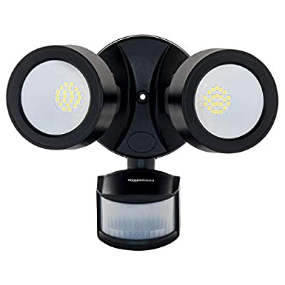 AmazonBasics 28W Waterproof LED Outdoor Motion Sensor Security Light with 2 Adjustable Metal Heads - 5500K-6500K Cool White, Up to 180° Detection Angle, 2500 Lumen, ETL Certified