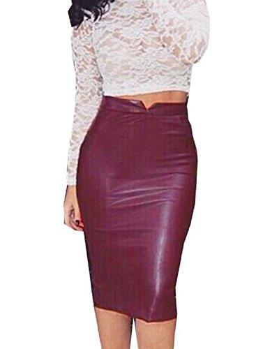 Minetom Mujeres Moda Atractivo Piel Sintética Midi Cintura Alta Elástica Bodycon Tubo Lápiz Falda Oficina Vintage Skirt