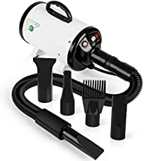amzdeal Dog Dryer 2800W/3.8HP Strong Power Heat and Cold Wind, Pet Hair Dryer for Home and Professional Use, Dog Grooming Hair Blower Blaster with Heat System, Spring Hose, and 4 Nozzle, White