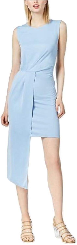 Bar III Sleeveless AsymmetricalDrape Dress, Light bluee, Size XXL