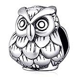 Encanto de búho de plata de ley 925 encanto de animal de la suerte del pájaro del encanto del animal doméstico para la pulsera del encanto de Pandora