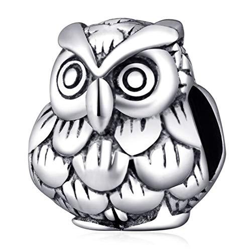 Abalorio de plata de ley 925 con diseño de búho de la suerte, para pulsera Pandora
