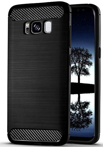 Samsung Galaxy S8 Hülle Silikon Schwarz [OneFlow Shift Cover] Stoßfest Silikonhülle Ultra-Slim Tasche für Samsung Galaxy S8 Case Dünn Handyhülle Matt Tasche Brushed