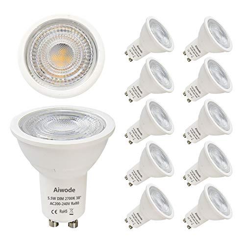 Ampoule LED GU10 Dimmable,Blanc Chaud 2700K,Aiwode 5.5W Équivalent 40W Halogène,470LM RA80,38°Angle de faisceau,Lot de 10.