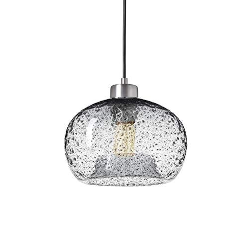 TRUSTWOODS Mini lámpara colgante de cristal semillado rústico soplado a mano, lámpara colgante con polvo de arena negro, transparente, níquel cepillado