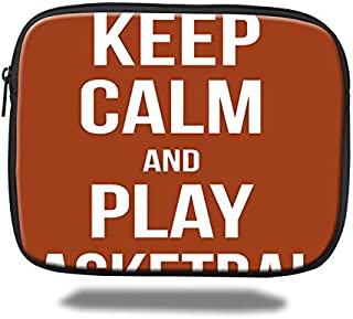 Tablet Sleeve Case Pocket Bag Compatible 9.7 Inch iPad Air,Keep Calm Play Basketball Quote Motivational Phrase Pop Culture Poster