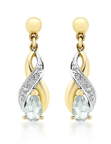 Carissima Gold 9ct Yellow Gold Diamond and Aquamarine Crossover Drop Earrings
