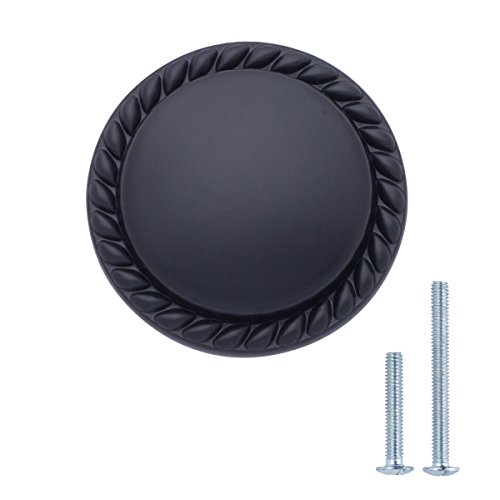 Amazon Basics Round Braided Cabinet Knob, 1.25-inch Diameter, Flat Black, 10-Pack