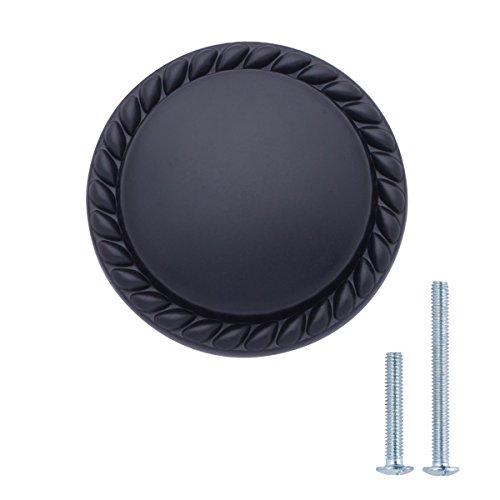 AmazonBasics - Schubladenknopf, Möbelgriff, gemusterter Rand, rund, Durchmesser: 3,17 cm, Matt-Schwarz, 10er-Pack
