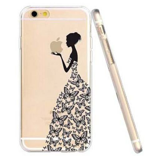 JIAXIUFEN TPU Gel Silicone Protettivo Skin Custodia Protettiva Shell Case Cover per Apple iPhone 6 Plus/iPhone 6S Plus – Henna Series Apple Butterfly Girl